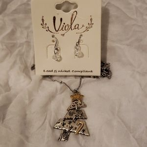 Jewelry - Viola Christmas Tree Necklace and Earring Set